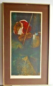 Rare-SUNOL-ALVAR-Signed-Limited-Edition-Lithograph-Portrait-of-Woman-with-Violin