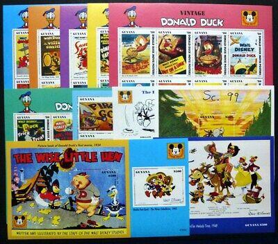 Guyana 1993 Disney Filmplakate Donald Duck Kino 4416-4469 Block 363-367 Mnh Choice Materials Animation, Cartoons