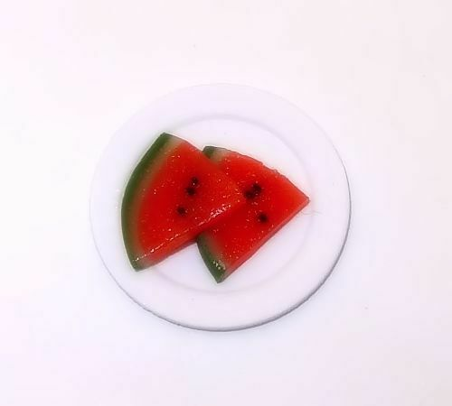 Dollhouse Watermelon Slices On Plate 1:12 Doll House Miniature Handcrafted Fruit