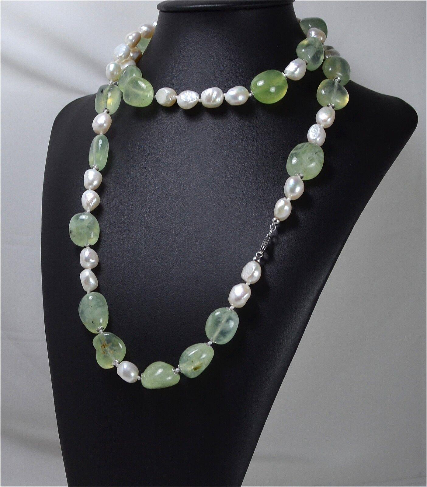 COLLANA silver QUARZO green TORMALINATO SASSI  E PERLE  -AGLN 082 -
