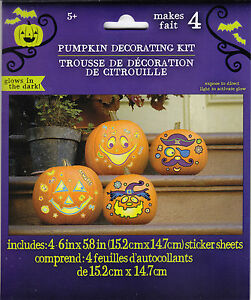 Image Is Loading New Pumpkin Decorating Kit Makes 4 Glow