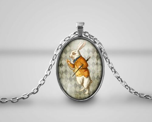 Handmade White Rabbit cameo pendant Alice in Wonderland Necklace quote