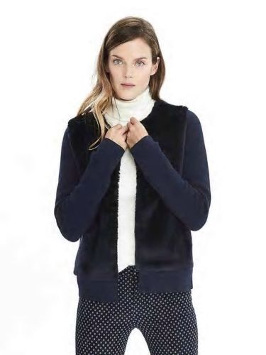 NWT Banana republic Faux Fur Sweater Jacket Navy  Größe M