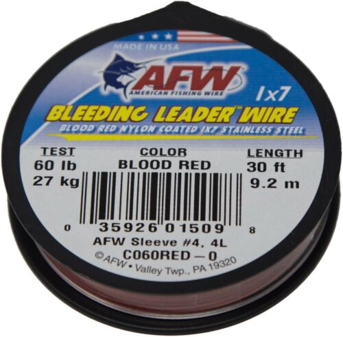 AFW American Fishing Wire Bleeding Leader Wire 1x7 Stainless Steel 60lb 30ft.