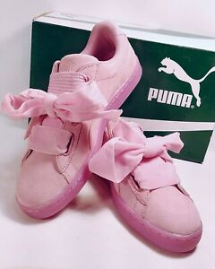 newest 338ef 4124a Details about Women's Puma Pink Suede Heart Reset Sneakers Court Lace Up  Size 9.5 *NWB*