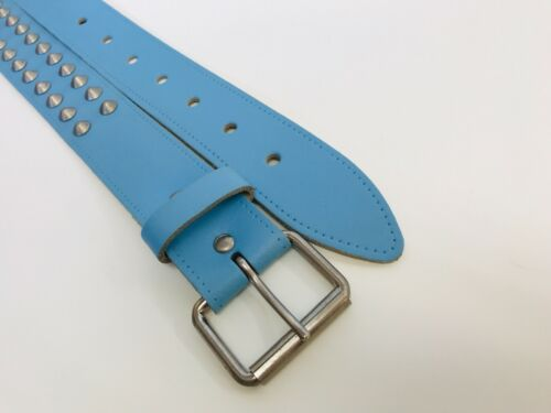 BABY BLUE Ladies Real Leather Conical Studded Belt L Sizes S CB2 XL M