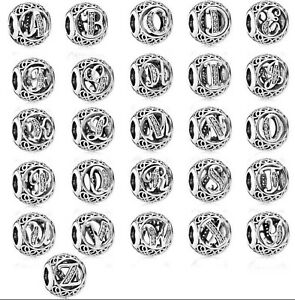8e835e0cb Image is loading New-Authentic-Silver-Pandora-Vintage-Letter-Initial- Alphabet-