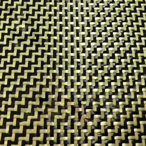 3K 1500D Aramid Carbon Fiber Blended Fabric Cloth Yellow Black 200gsm W Weave