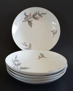 """Choke Cherry Fine China Soup Bowls Set Of Five (5) Silver Trim Vintage 7 1/2"""""""