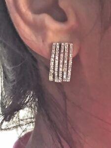 Image Is Loading Modern Diamond Earrings In 14k Two Tone Gold