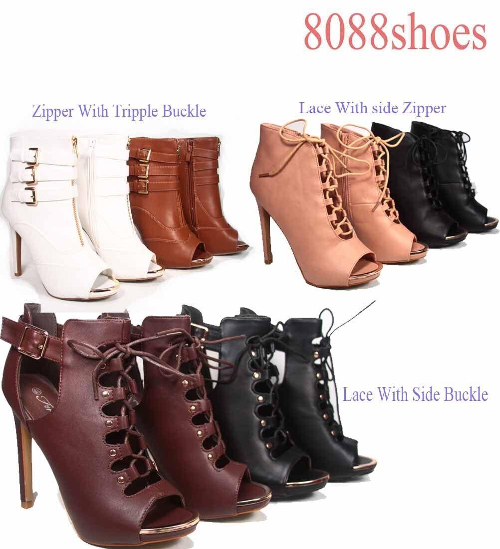 Women's Open Toe Lace Up Zipper Buckle Cut Out High Heel Bootie Sandal Size 5-10