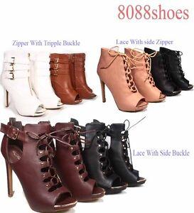 Women-039-s-Open-Toe-Lace-Up-Zipper-Buckle-Cut-Out-High-Heel-Bootie-Sandal-Size-5-10