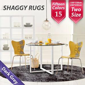 245x245cm Grey Round Shag Shaggy Floor Confetti Rug Carpet Mats