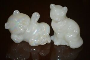 Fenton-Cat-amp-Bear-White-Pearlized-Iridescent-Blanks