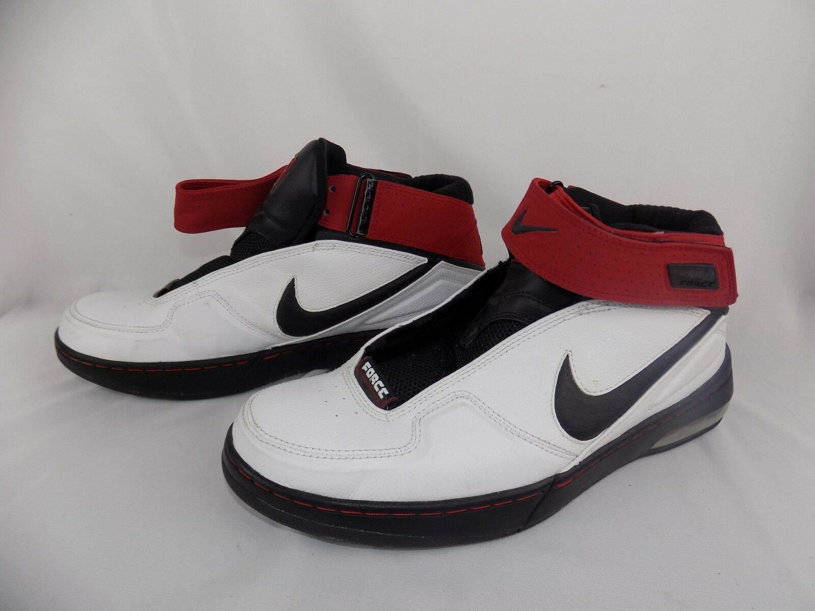 Nike Air Force 90 Leather Basketball Shoes White W/ Red Black 315001-101 Mens 12