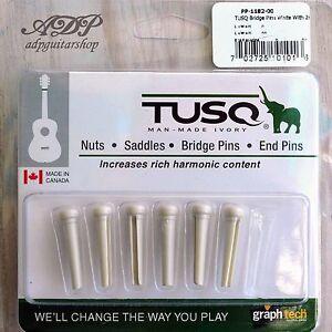 6-Chevilles-Tusq-PP-1182-White-Paua-dot-GRAPH-Tech-Acoustic-Guitar-Bridge-Pins