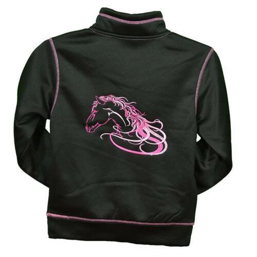 Cowgirl Hardware Girls Black With Pink Horse Cadet Jacket 473272-010
