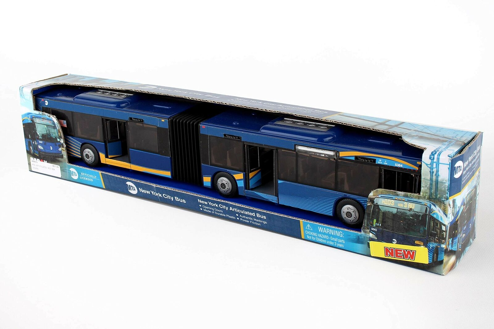 MTA Articulated Bus Diecast Model Toy Car Daron RT8571 Blue