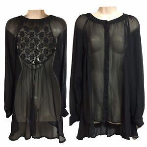 Black-Sheer-Steampunk-Goth-Vamp-Blouse-Sissy-Mistress-Lace-Shirt-Top-UK-10-12-S
