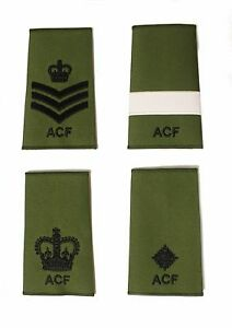 ACF-Army-Cadet-Force-CFAV-Adults-Green-Rank-Slides-Black-Thread-Single-or-Pair