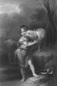 SAINT-JOHN-THE-BAPTIST-BOY-CHILD-HUGS-BABY-LAMB-1877-BIBLE-Art-Print-Engraving
