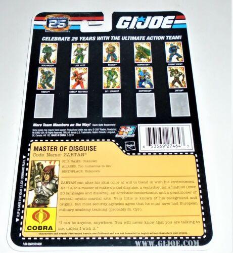 G I Joe fichier I.D Carte filecard 25th anniversaire 2007 Zartan V13 Uncut