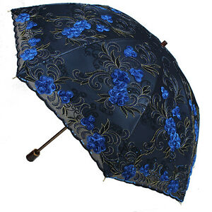 women embroidery lace parasol anti uv sun rain protection lady folding umbrella ebay. Black Bedroom Furniture Sets. Home Design Ideas