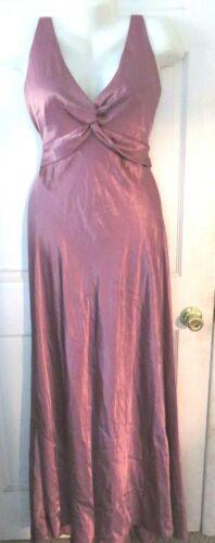 Cache Dusty Rose Long Satin Front Twist Dress Sz 1