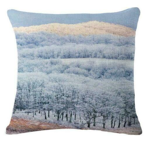18 Inches Winter Throw Pillow Case Christmas Forest Snow Square Cushion Cover