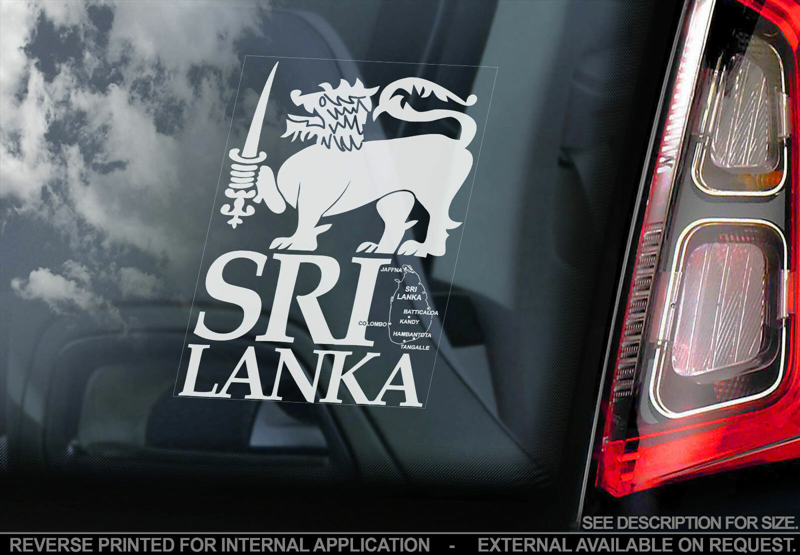 Sri lanka high detail car window sticker