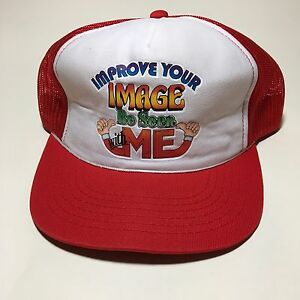 034-IMPROVE-YOUR-IMAGE-BE-SEEN-WITH-ME-TRUCKERS-Hat-SNAPBACK-Red-MESH-BACK-White