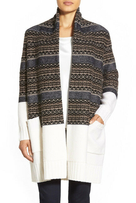 NEW Nordstrom Collection Fair Isle Wool & Cashmere Cardigan in Ivory Multi - S