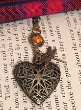 Outlander Dragonfly in Amber Crystal Celtic Heart Scottish Irish Locket Necklace