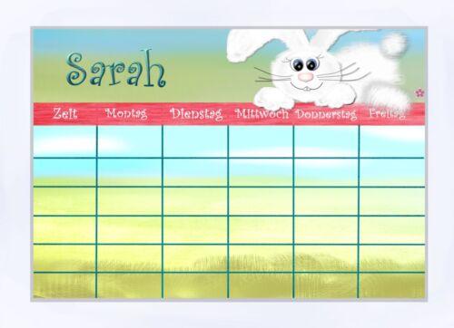 abwischbar Einschulung Stundenplan Hase  laminiert