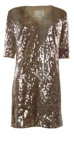 Square-Sequined-V-Neck-Half-Sleeves-Shift-Dress