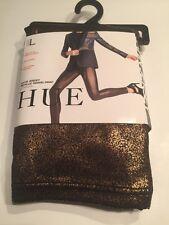 Hue Women Satin Jersey Metallic Gravel Print Leggings Size L Size 12-14 Copper/b