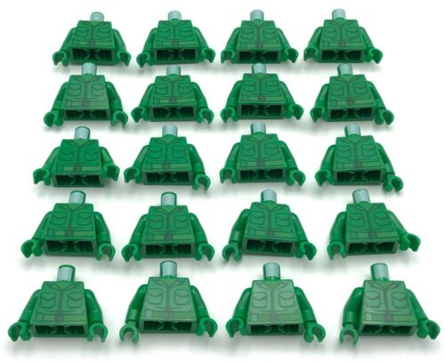 Lego 20 New Green Torsos Army Jacket 2 Pockets Green Belt Pattern World War 1