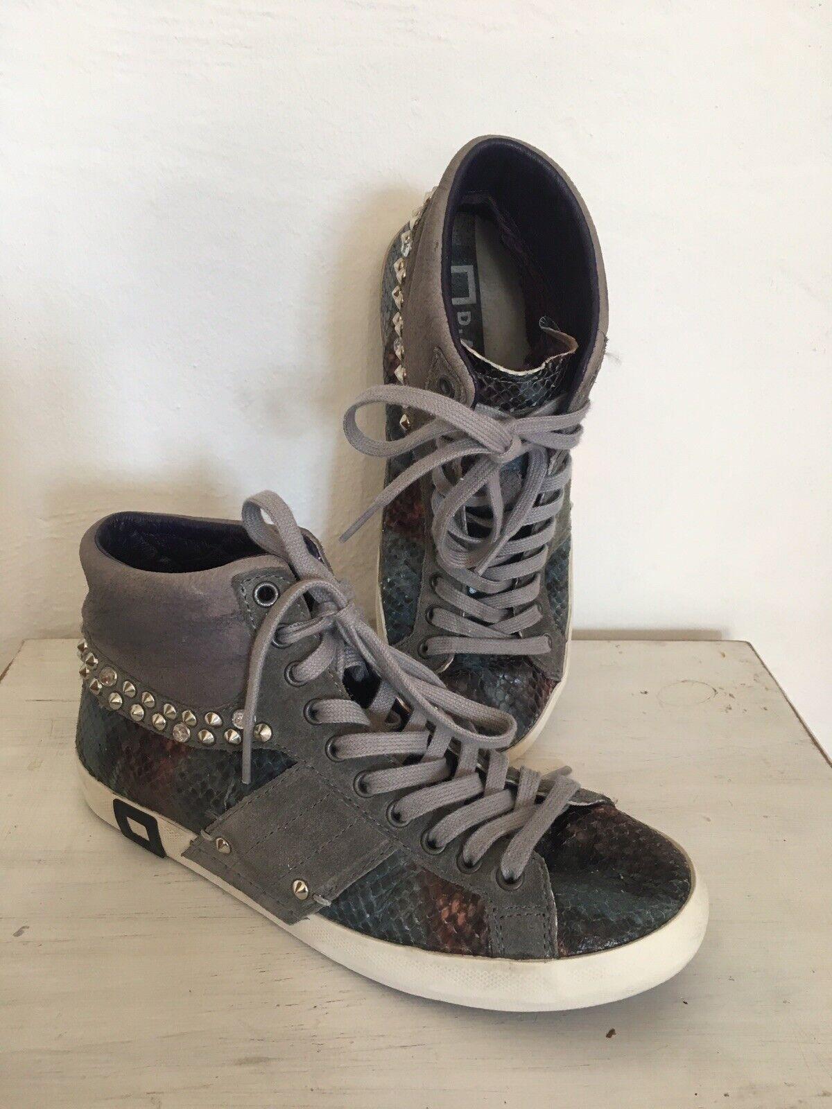 D.A.T.E. High Top Leder Turnschuhe Snake Nieten zu Jeans Hose Rock Gr. 37 Conleys