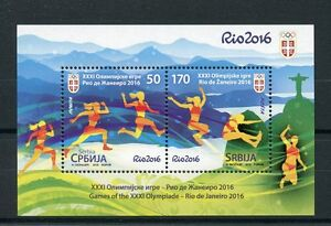 Serbia-2016-MNH-Olympic-Games-Rio-2016-2v-M-S-Athletics-Olympics-Stamps