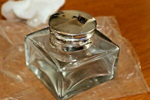 Antique-Style-Clear-glass-inkwell-ink-pot-bottle-Silver-Metal-Lid-Rim-for-Slope