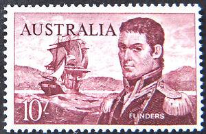 1963-64 Australian Pre Decimal Stamps: Navigators - Flinders - Single 10/- MNH