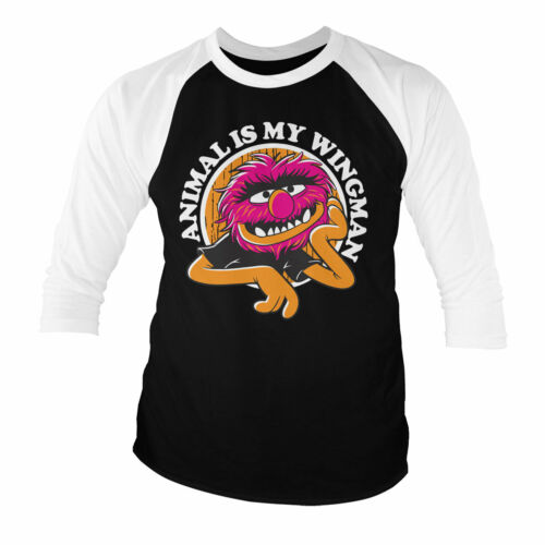 Licensed The Muppets Animal Is My Wingman Baseball 3//4 Sleeve T-Shirt S-XXL