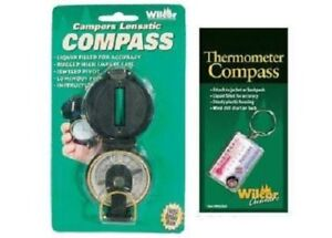Campers-Lensatic-Compass-and-Zipper-Pull-Hiking-Trekking-Thermometer-Compass