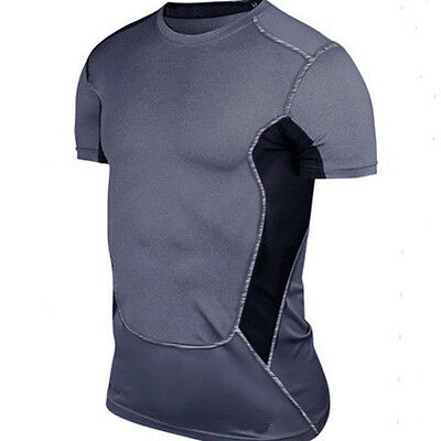 Mens Sports Compression Pro Base Layer Short Sleeve T-Shirt Athletic Top Tights