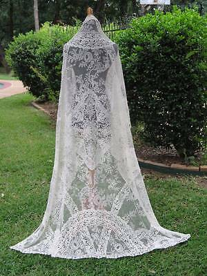 Fabulous Antique Handmade Brussels Lace Wedding Bridal Veil 19th Century