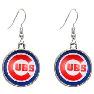 Image Is Loading New Chicago Cubs Earrings Charm Logo Round Gl