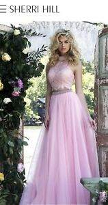 85784be92 2016 Sherri Hill 32347 Jeweled Backless Lace Two-Piece Prom Dress ...