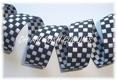 7/8 BLACK WHITE REVERSIBLE NASCAR CHECK CHECKER JACQUARD RIBBON 4 BOW