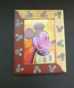 Unique-Disney-Wood-5-x7-Picture-Photo-Frame-2-Tone-Mickey-Mouse-Head-Metal-Inlay
