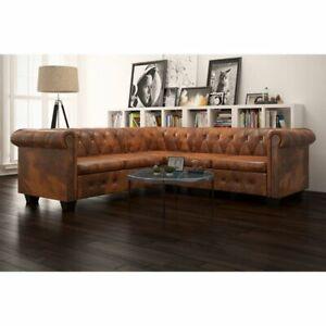 vidaXL-Chesterfield-Sofa-5-Sitzer-Couch-Wohnmoebel-Bueromoebel-Kunstleder-Braun